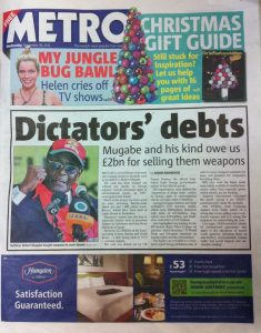 Metro front page on Dictator Debts