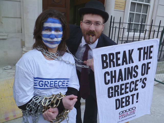 Greece Chains protest 2