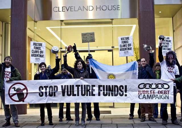 Demonstration outside office of vulture fund Elliott Associates, London, April 2013. Photo: James Robertson/Jubilee Debt Campaign