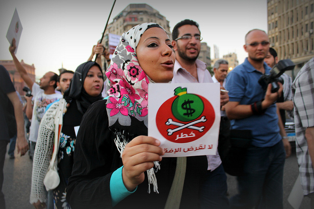 Protest in Cairo against the proposed IMF loan to Egypt, August 2012 (Flickr / Gigi Ibrahim)