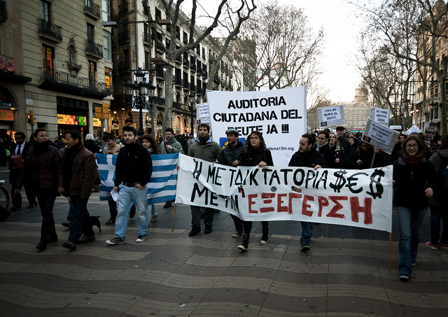 'We're all Greeks' protest in solidarity with the people of Greece, Barcelona, 2012. (Flickr / Julien Lagarde)