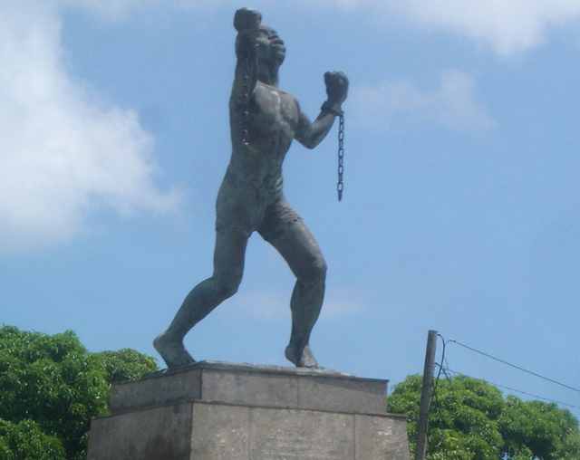 Statue in Barbados of Bussa, who led a slave revolt in 1816, commemorating the end of slavery