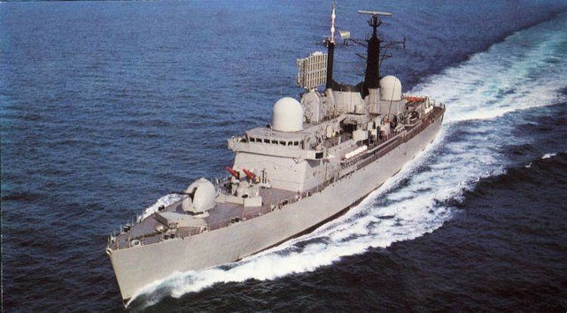 The ARA Santisima Trinidad, one of the Destroyers the UK lent the Argentine military junta the money to buy, which was part of the Falkland Islands invasion a few years later