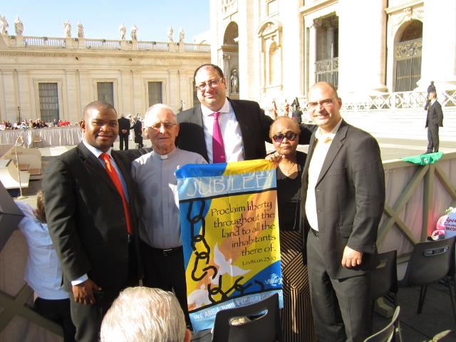 Dr. Collins Magalasi (AFRODAD), Sean Dogget (Caribean Debt Network), Eric LeCompte (Jubilee USA), Beatrice Parwatikar (Jubilee USA) and Bodo Ellmers (EURODAD)