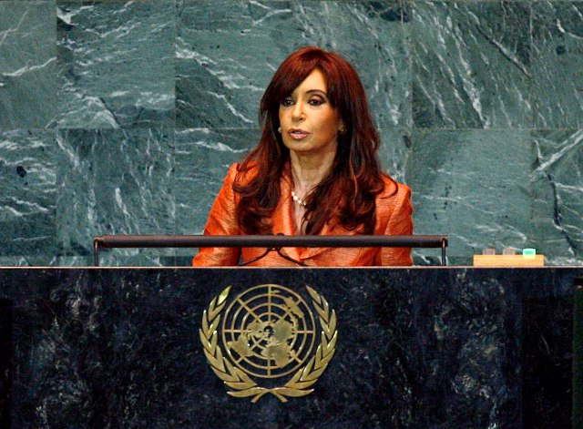 Argentina President Christina Fernandez de Kirchner addresses the United Nations General Assembly, in 2009