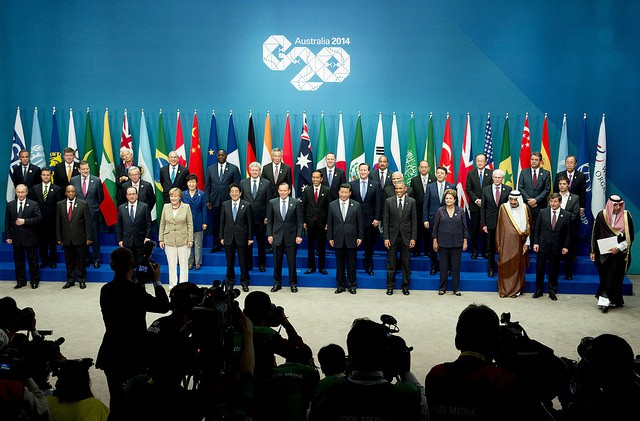 The 35 attendees at the G20 summit in Australia, including IMF Managing Director Christine Lagarde