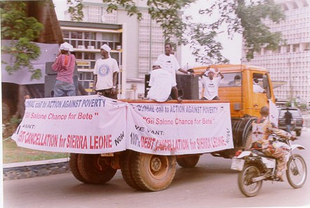 Campaigners in Sierra Leone call for debt cancellation in the mid-2000s