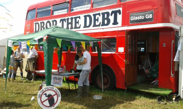 Campaigners at the Drop the Debt bus
