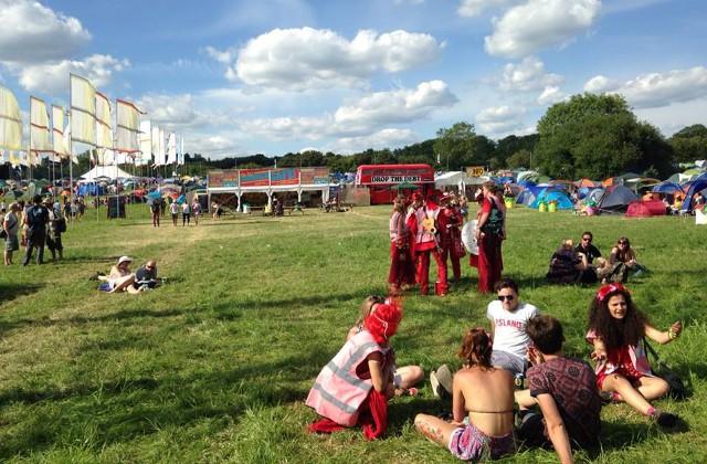 The Drop the Debt bus at Glastonbury 2014