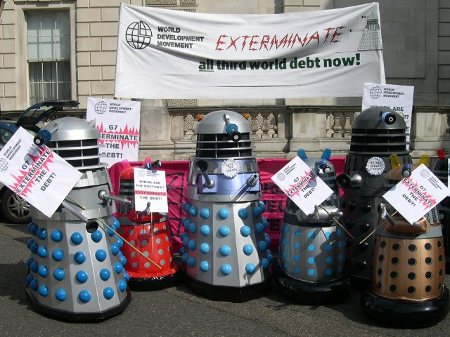 Daleks from the World Development Movement say 'Exterminate the debt' outside the G7 finance ministers meeting / Global Justice Now