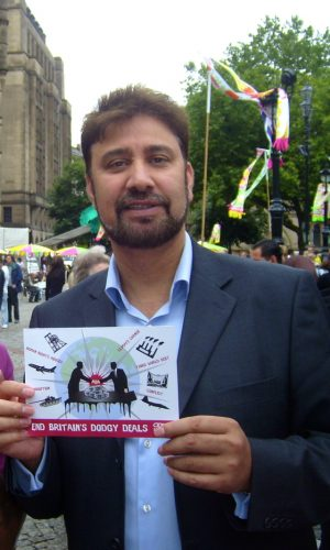 Mohammed Afzal Khan, MEP, (former Lord Mayor and long term supporter) challenging the government to End Dodgy Deals outside Manchester Town Hall