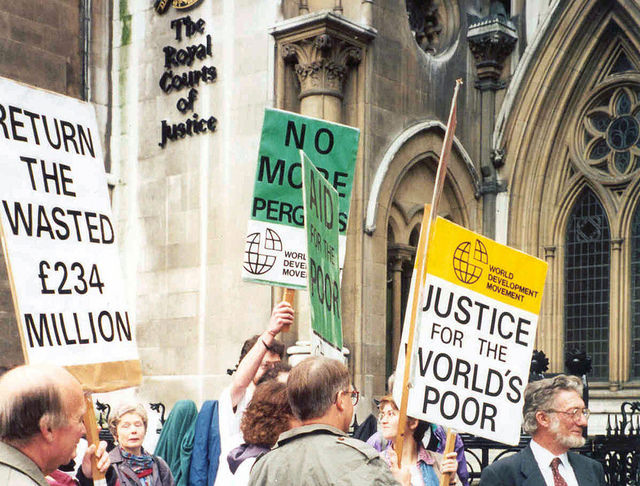 In 1994 the World Development Movement won a court case against the UK government over £234 million of aid money being spent on an expensive dam in Malaysia in return for an arms deal. The case led to the UK government formally saying aid should not be tied to UK business contracts (Flickr / Global Justice Now)